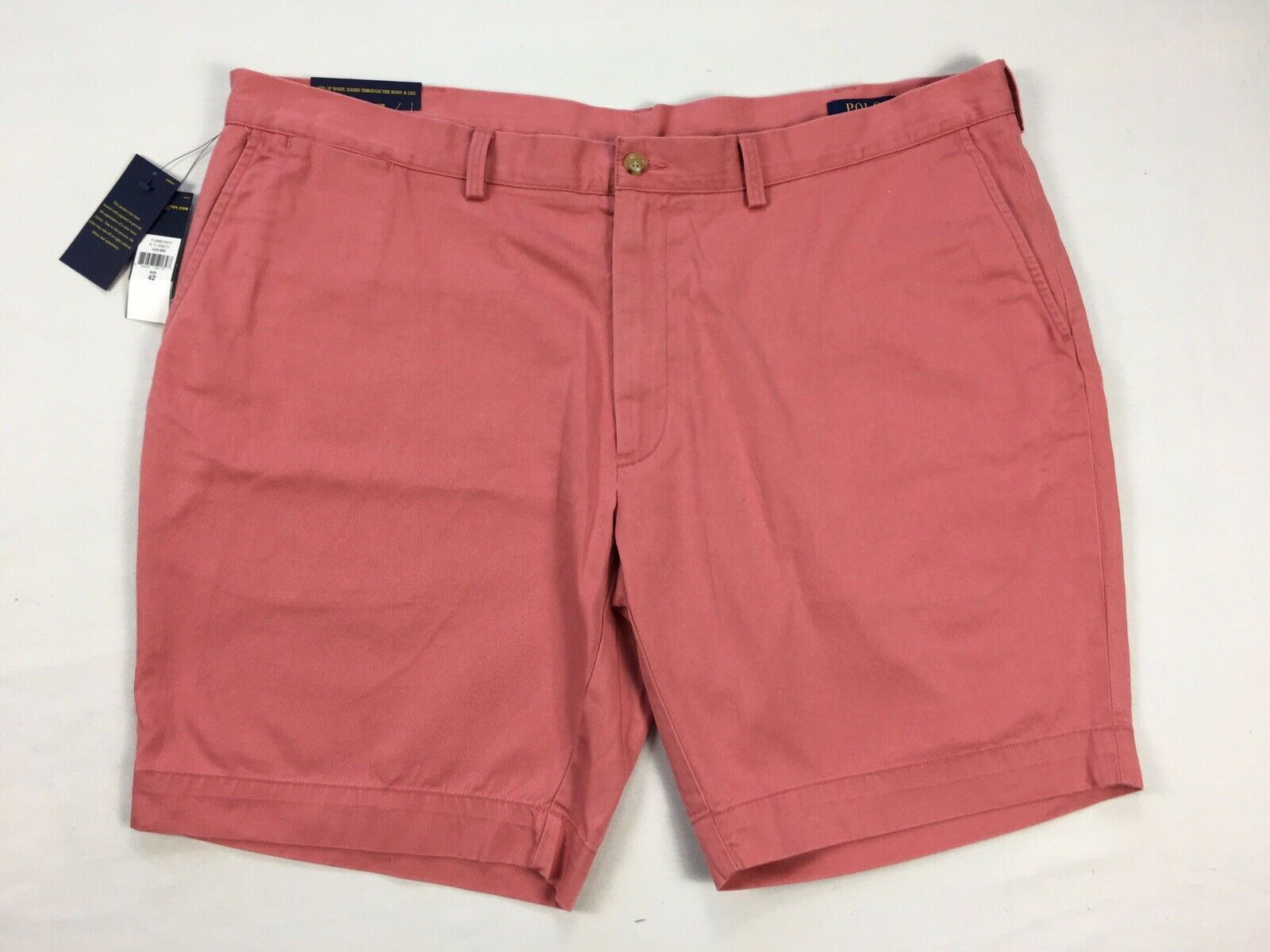 Polo Ralph Lauren Shorts Sz 42 Mens Red Flat Front Classic Fit Casual 9 Inseam