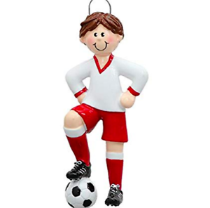 NAME PERSONALIZED CHRISTMAS ORNAMENT Red Uniform Soccer Boy Team Player Athlete