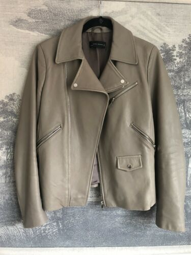 Zara Gray Leather Biker Jacket Size M
