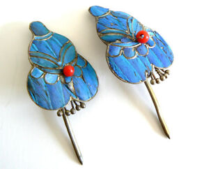 A-Set-Qing-Dynasty-Kingfisher-Feather-Hair-Pin-Antique-VINTAGE-Tian-tsui