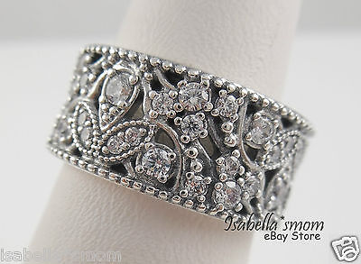SHIMMERING LEAVES Genuine PANDORA Silver/Clear CZ Stone THICK BAND Ring 6/52 NEW