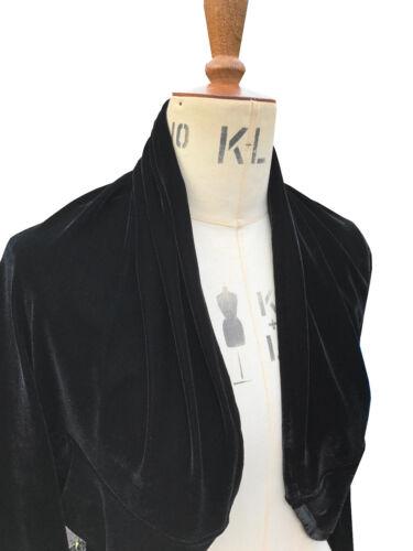 Baylis /& Knight Black Velvet Long Sleeve drape BOLERO Cardigan Wrap Stole Shrug