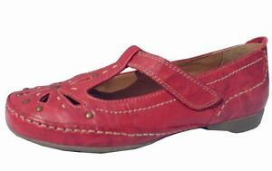 Ladies Tan Brown Leather Soft Flexible flat shoes T-bar Moulded Sole Comfort NEW
