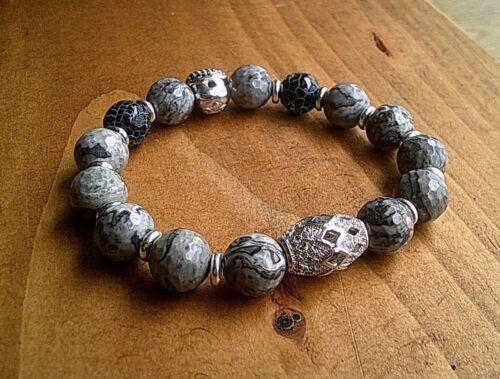 Cráneo de plata pulsera de cristal de piedra para joyería de lujo para Hombre Regalo De Navidad Reino Unido