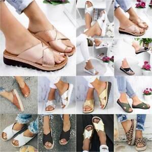 Women Flatform Platform Wedges Slip On Sandals Summer Slider Slippers Shoes Size