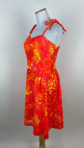 *FLAWS* VTG 70s Neon Orange Sun Dress M Hawaiian T