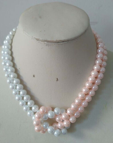 Beautiful 8mm White//Pink 2 Rows South Sea Shell Pearl necklace 20inch JN1999