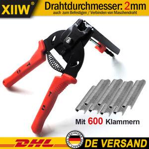 Drahtbefestigungszange für Maschendraht Drahtklammern Zaunzange 600 Klammern DHL