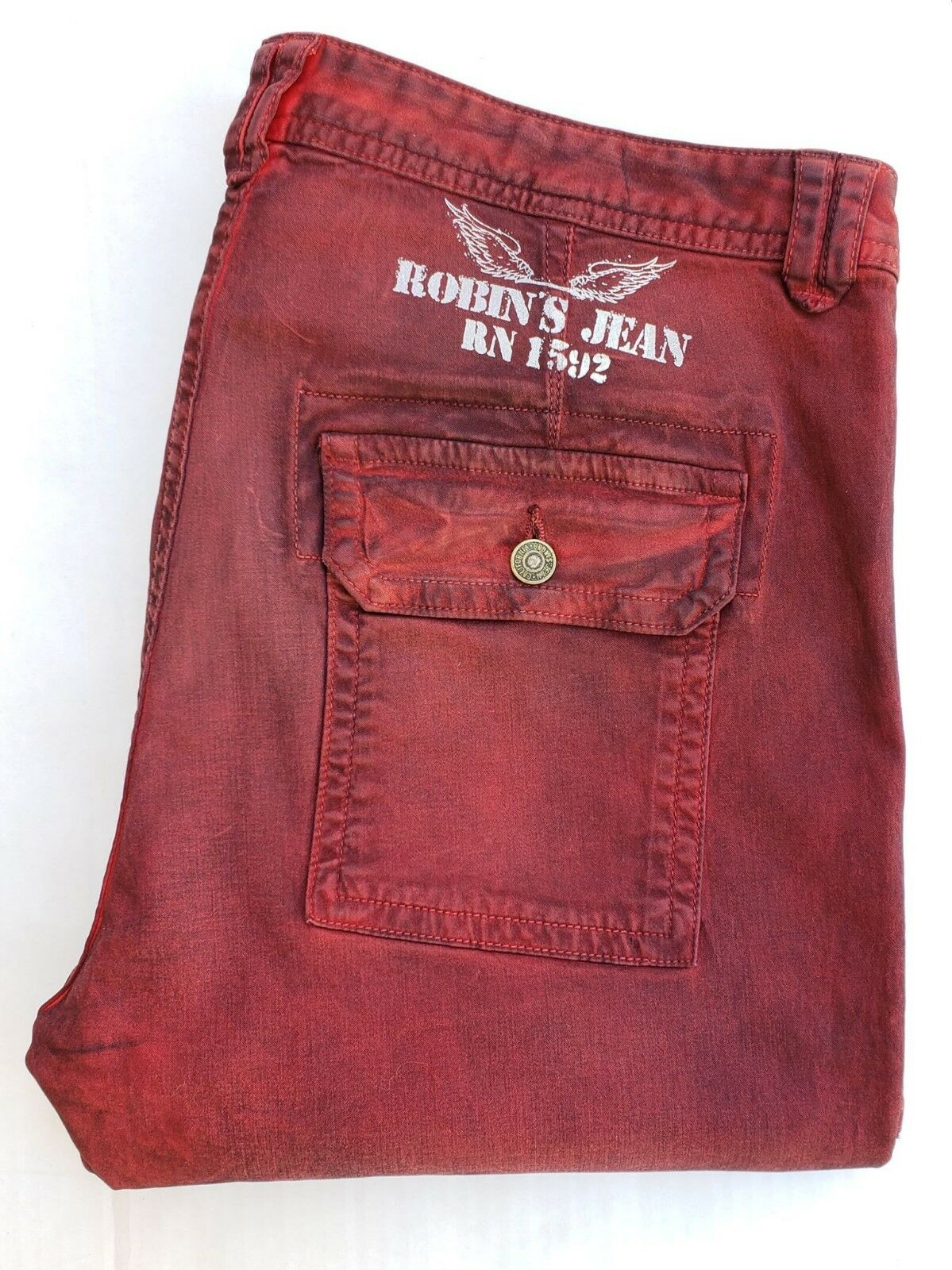 New Men'S ROBIN'S JEAN sz 36 MECHANIC Slim Jeans -Dusty Red