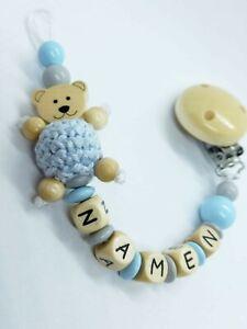 Schnullerkette Namen Natur Hellblau Holz Teddy Geburt Taufe Baby Schnuller Bär