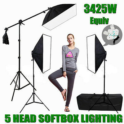 Photo Backdrop Studio Softbox Continuous Video Lighting Boom Arm Soft Box Kit