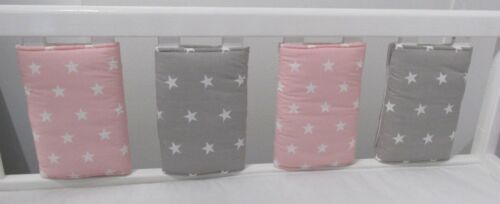 New Babies Pink /& Grey /& White Stars Bar Bumper pads Pack of 8
