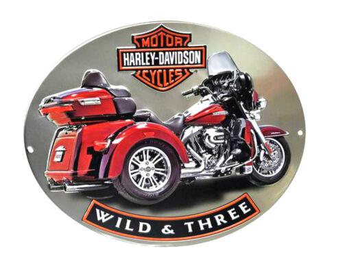 15.75x13 2011341 Harley-Davidson Bar /& Shield Embossed Red Trike Oval Tin Sign