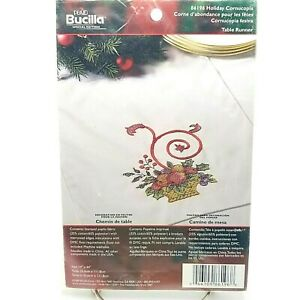 Stamped Cross Stitch #86196 Holiday Cornucopia Table Runner Bucilla 14x44 in