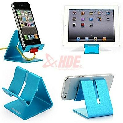 Universal Blue Aluminum Anti-Slip Pad Support Holder for Tablet eReader Phone