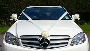 IVORY Wedding Car Decoration Kit Large Bows & 7 Metres of Ribbon ...