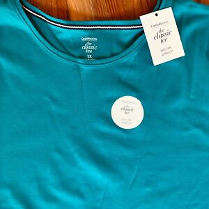 Croft-amp-Barrow-Knit-Top-NWT-Womens-PLUS-Short-Sleeve-Teal-Blue-Classic-Tee