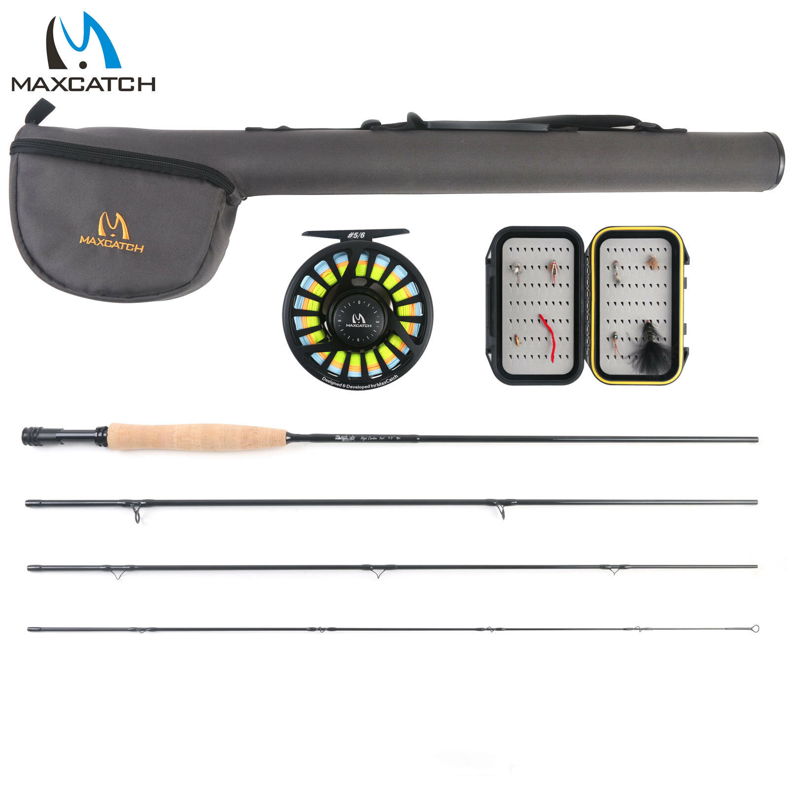 Maxcatch 56wt Fly Fishing Combo,9' 4piece Rod and Avid Prespooled Reel Outfit