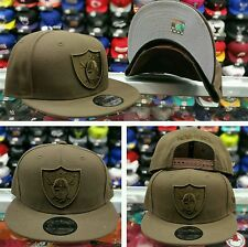 Exclusive New Era NFL Shield Oakland Raiders 9Fifty Snapback hat Brown on Brown