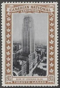 Canada Poster stamp:1937 Canadian National Exhibition CNE, Bk of Commerce-dw13k