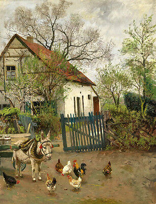 Oil painting animals Honest donkey with Poultryhens cocks farmer/'s house canvas