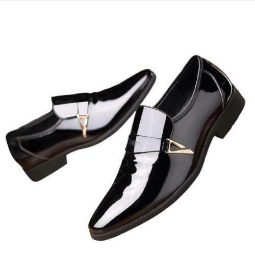 Mens Pointy Toe Oxfords Slip on Party Work Business Leisure Faux Leather Shoes L