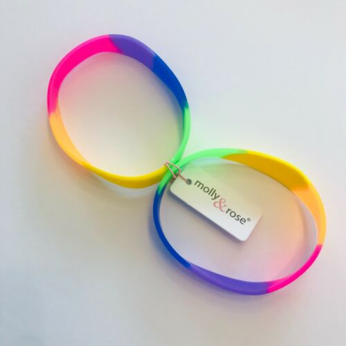 2 Rainbow Bright Coloured Rubber Bangles Wristbands 80/'s Fancy Dress Party Pride