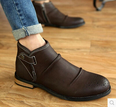 Winter Men Casual Leather Side Zip Buckles Ankle Boots High Top Dress Shoes K188