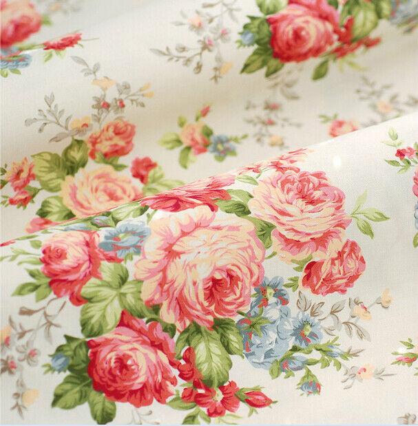 160CM*50CM  beige floral cotton print fabric bedding quilt sewing tissue tecidos
