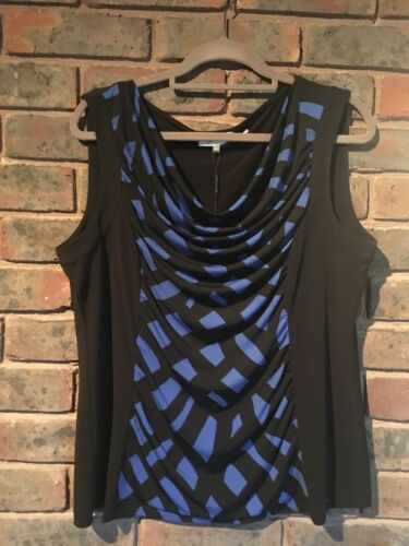 Xl Klein Womens Tank Blue top Nwt black Calvin Cowl Sleeveless Neck 5RHwvP