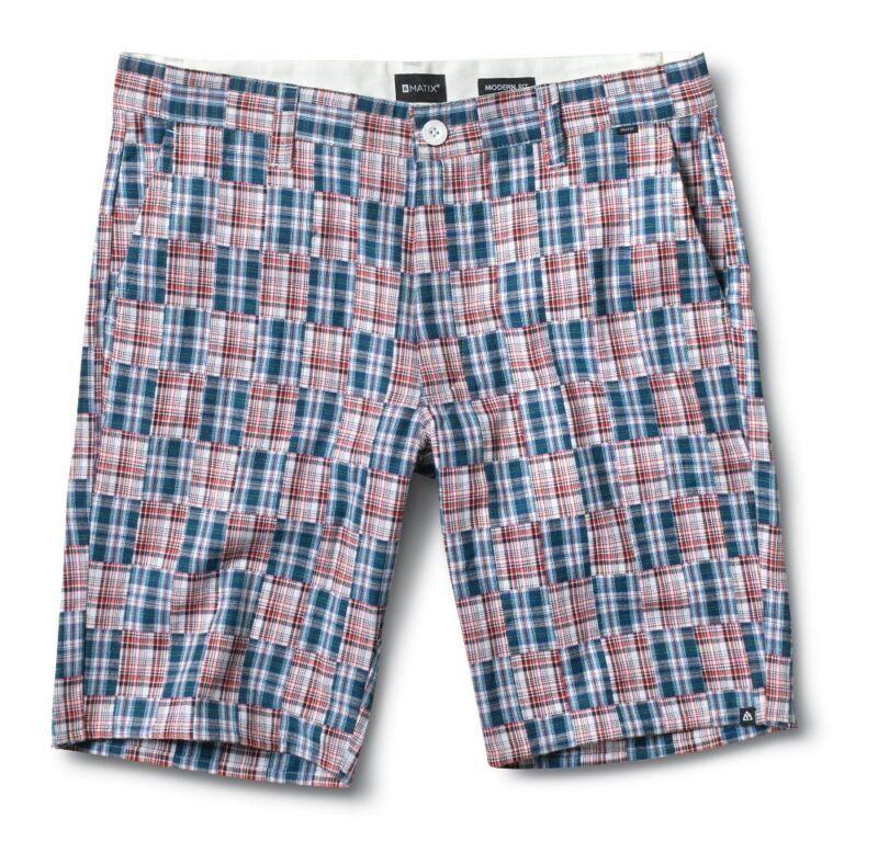 Matix Libertà Madras Uomo Pantaloncini 34 Bianco Blu Rosso Nuovo