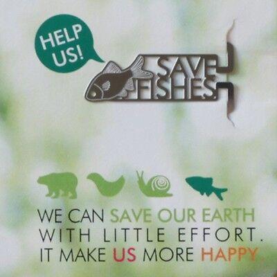 mini metal bookmark HELP US of FISH print animal rights vegan vegetarian