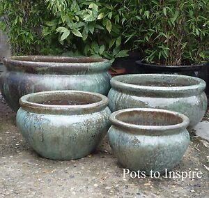 Extra Large Garden Pots Extra large opal green glazed low bowl planters garden pot ebay image is loading extra large opal green glazed low bowl planters workwithnaturefo