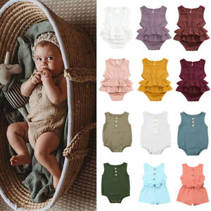 Toddler Baby Girls Newborn Clothes Cotton/&Linen Summer Romper Bodysuit Outfits