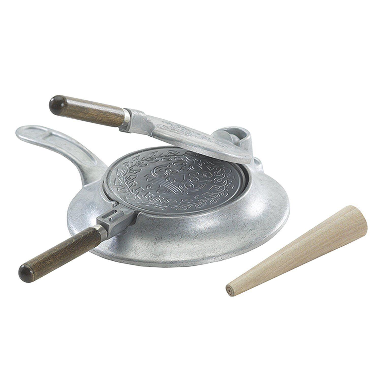 Norwegian Krumkake Iron Scandinavian Cookie Cone Maker Stove Top Pan Wood Roller