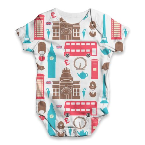 Twisted Envy London Pattern Baby Unisex Funny ALL-OVER PRINT Baby Grow Bodysuit