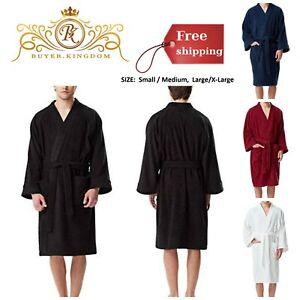571b889c8b Details about Mens Bathrobe Bath Robe Kimono Turkish Terry Cloth Cotton  Short Sauna Pool Beach