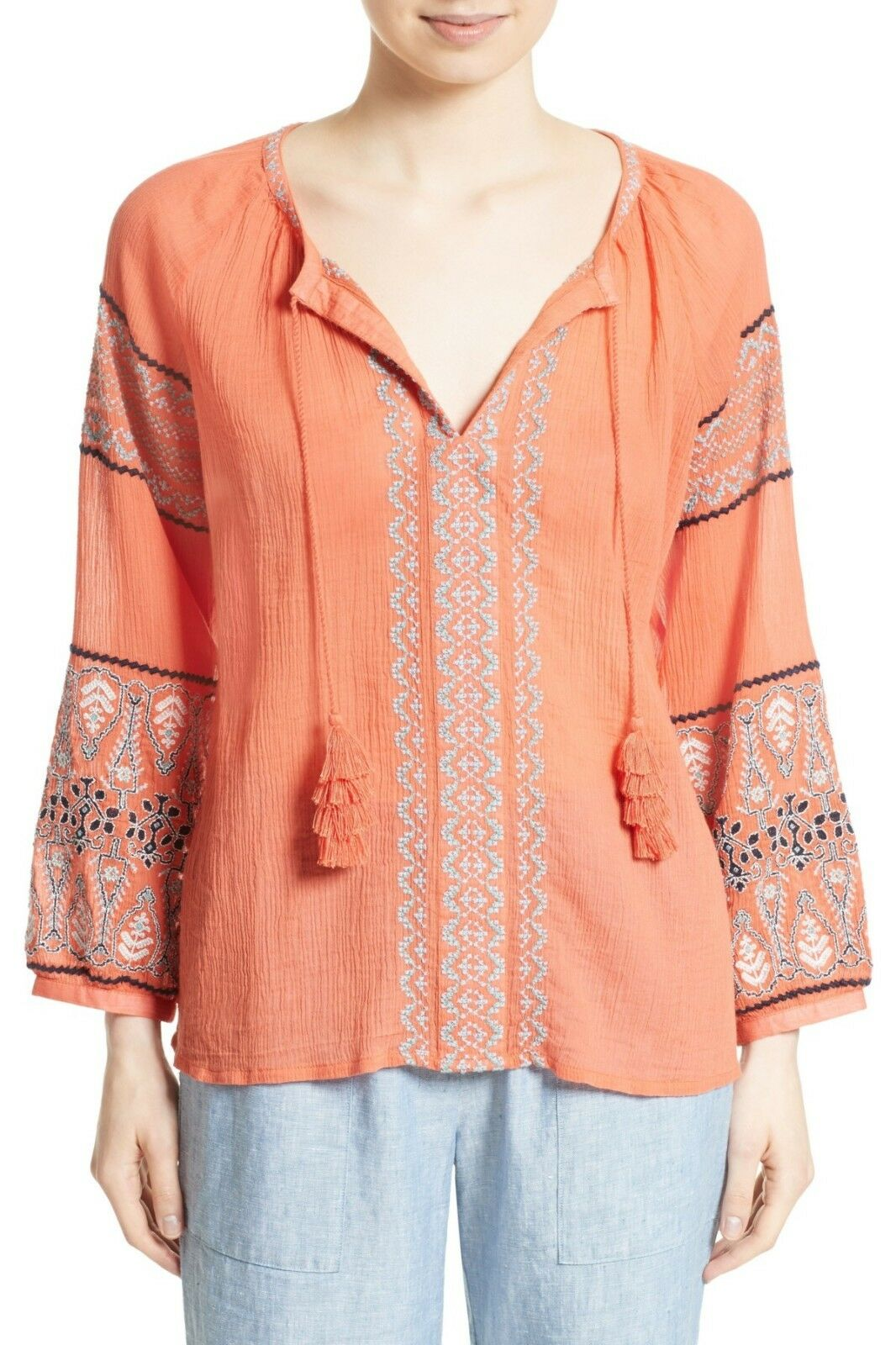 NWT- Joie Nelida Embroidered Gauzey-Cotton Tunic Blouse, Blood orange - Small