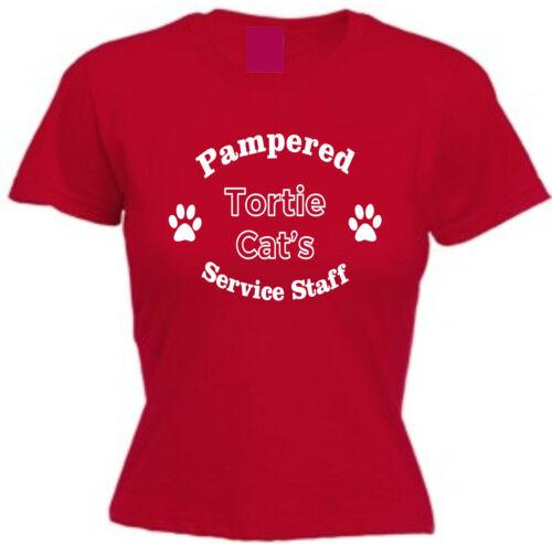 PAMPERED TORTIE CAT/'S SERVICE STAFF T-SHIRT Pet Gift Christmas Tortoiseshell
