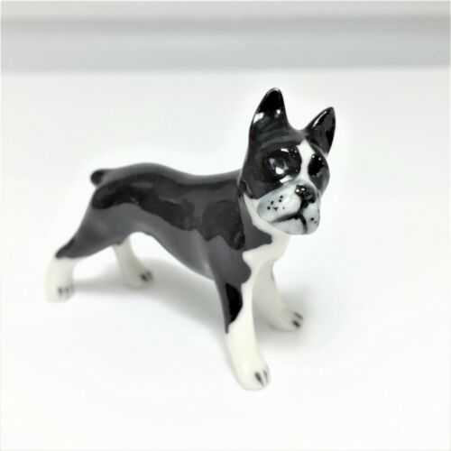 cute animal handcraft ceramic miniature Boston Terrier dog figurine home decor