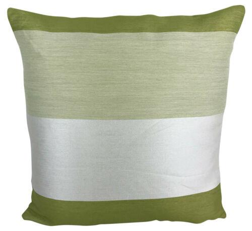"""Lot de 4-vert//crème à rayures Housses De Coussin 17 X 17/"""" pouces//43 x 43 cm"""