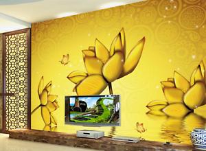 3D goldener Lotus Teich 456 Tapete Tapeten Mauer Foto Familie Tapete Wandgemälde