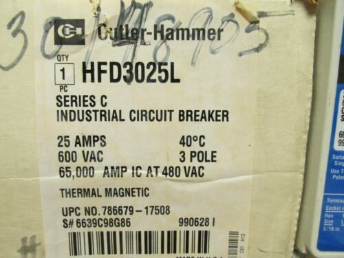 NEW CUTLER HAMMER HFD3025L 3 POLE 25 AMP INDUSTRIAL CIRCUIT BREAKER . WL206
