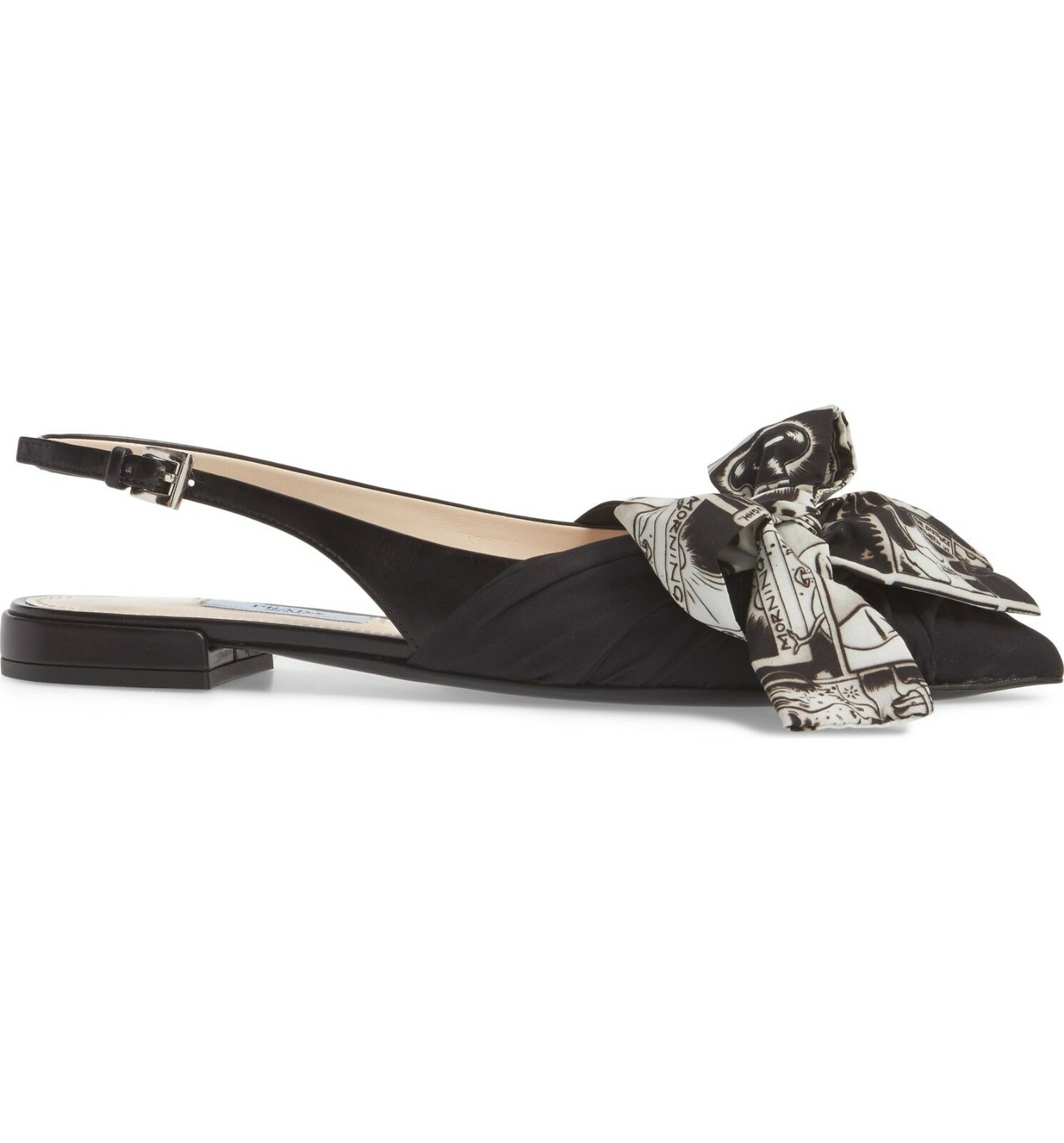 NIB NEW Prada women black bow flats slingback flats bow sandals shoes 38 US 8 c7640c