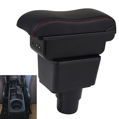 Color : BLack Double Layer Car Armrest Center Console Arm Rest With 7 USB Ports For Ford Ecosport 2013 2014 2015 2016 2017 Car Armrest Box Center Console