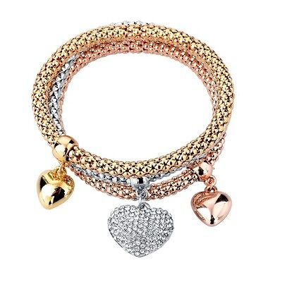 3 PCS SET ROSE GOLD, SILVER  HEART CHARMS CHAIN STRETCHY LINK BRACELET LADIES