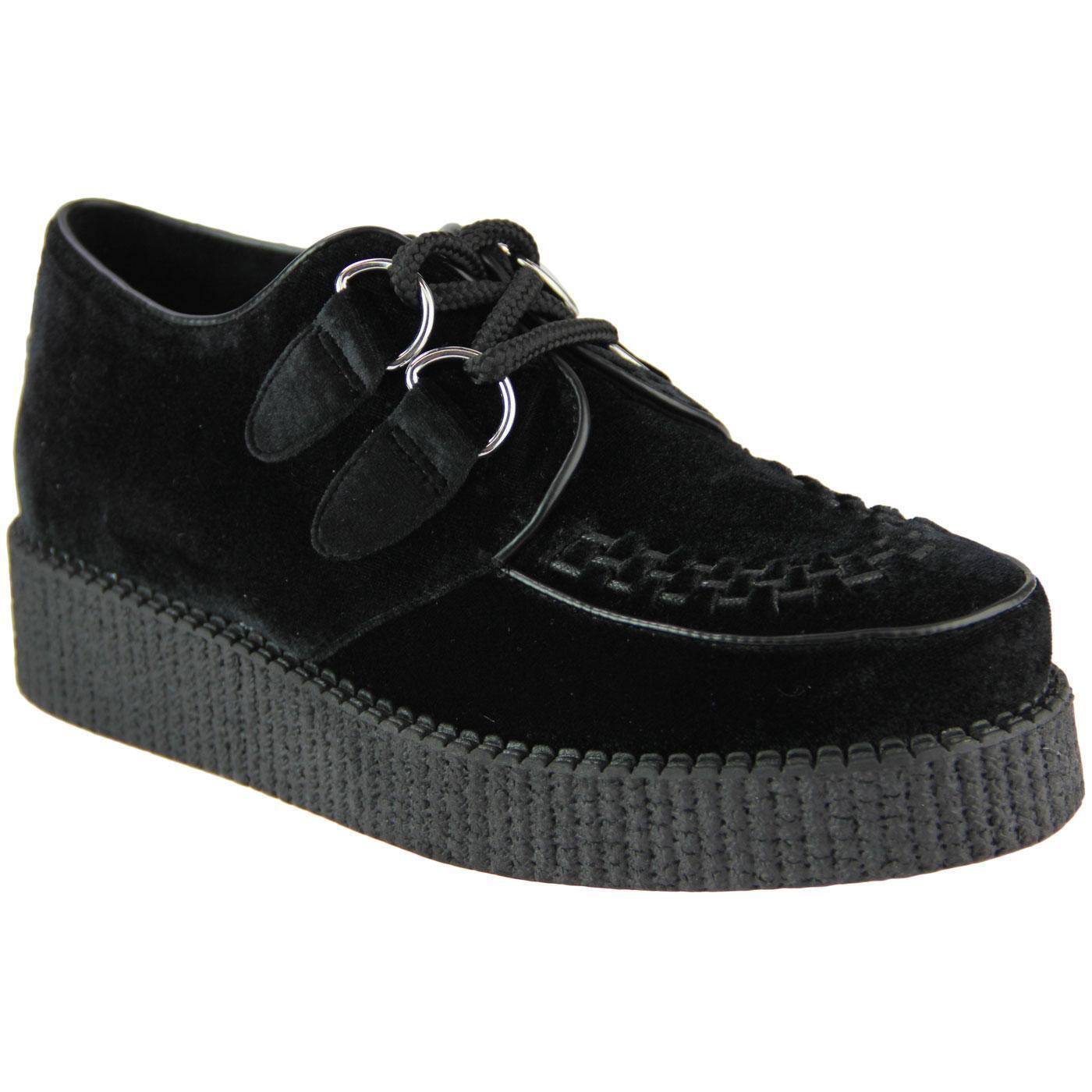 Nuevo Madcap Para Para Para Mujer Mod Rockabilly 50s Negro Terciopelo Creepers Zapatos Rumble 32406  descuento de ventas en línea