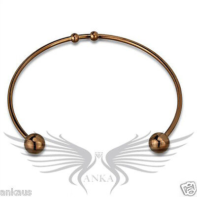 "7"" Ladies' Bead-End Chocolate Gold Plated Open Cuff Bangle Bracelet LO3735"