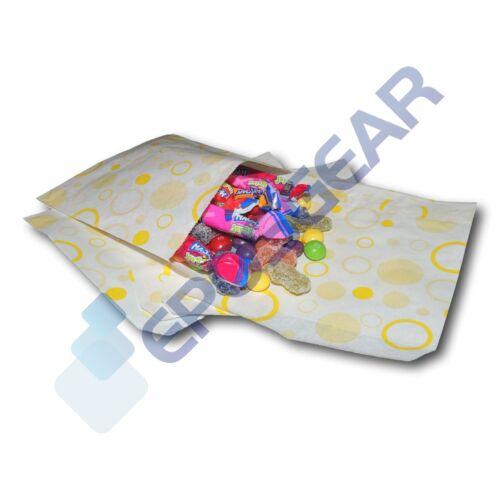 "50 Yellow 5/"" x 5/"" Candy Paper Bags Sweet Buffet Gift Shop Party Cart Wedding"