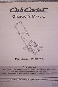 cub cadet operator s manual for push mower model 10m ebay rh ebay com cub cadet operators manual online pdf cub cadet operators manual rzt series